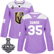 Wholesale Cheap Adidas Golden Knights #35 Oscar Dansk Purple Authentic Fights Cancer 2018 Stanley Cup Final Women's Stitched NHL Jersey