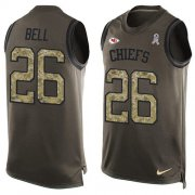 Wholesale Cheap Nike Chiefs #26 Le'Veon Bell Green Men's Stitched NFL Limited Salute To Service Tank Top Jersey