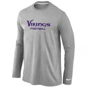 Wholesale Cheap Nike Minnesota Vikings Authentic Font Long Sleeve T-Shirt Grey