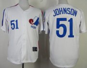 Wholesale Cheap Mitchell And Ness Expos #51 Randy Johnson White Throwback Stitched MLB Jersey