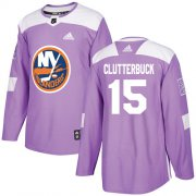 Wholesale Cheap Adidas Islanders #15 Cal Clutterbuck Purple Authentic Fights Cancer Stitched Youth NHL Jersey