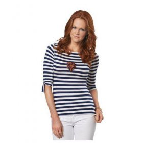 Wholesale Cheap Chicago Bears Lady Striped Boatneck Three-Quarter Sleeve T-Shirt