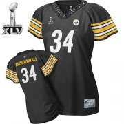 Wholesale Cheap Steelers #34 Rashard Mendenhall Black Women's Field Flirt Super Bowl XLV Stitched NFL Jersey