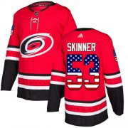 Wholesale Cheap Adidas Hurricanes #53 Jeff Skinner Red Home Authentic USA Flag Stitched Youth NHL Jersey