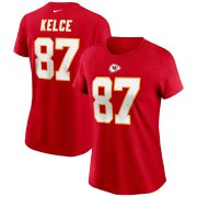 Wholesale Cheap Kansas City Chiefs #87 Travis Kelce Nike Women's Team Player Name & Number T-Shirt Red