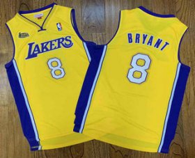 Wholesale Cheap Men\'s Los Angeles Lakers #8 Kobe Bryant Yellow Champion Patch 1999-2000 Hardwood Classics Soul Swingman Throwback Jersey