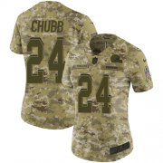 Wholesale Cheap Nike Browns #24 Nick Chubb Camo Women's Stitched NFL Limited 2018 Salute to Service Jersey