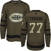 Wholesale Cheap Adidas Canadiens #77 Pierre Turgeon Green Salute to Service Stitched NHL Jersey