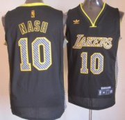 Wholesale Cheap Los Angeles Lakers #10 Steve Nash Black Electricity Fashion Jersey