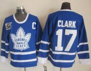 Wholesale Cheap Maple Leafs #17 Wendel Clark Blue 75th CCM Throwback Stitched NHL Jersey