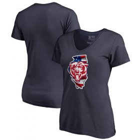 Wholesale Cheap Women\'s Chicago Bears NFL Pro Line by Fanatics Branded Navy Banner State V-Neck T-Shirt