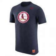 Wholesale Cheap St.Louis Cardinals Nike Cooperstown Retro Logo Tri-Blend T-Shirt Navy