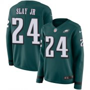 Wholesale Cheap Nike Eagles #24 Darius Slay Jr Green Team Color Women's Stitched NFL Limited Therma Long Sleeve Jersey