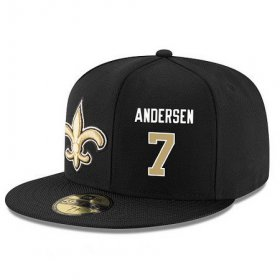Wholesale Cheap New Orleans Saints #7 Morten Andersen Snapback Cap NFL Player Black with Gold Number Stitched Hat