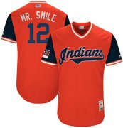 "Wholesale Cheap Indians #12 Francisco Lindor Red ""Mr. Smile"" Players Weekend Authentic Stitched MLB Jersey"