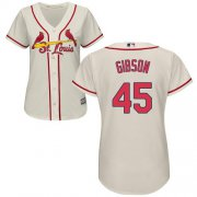Wholesale Cheap Cardinals #45 Bob Gibson Cream Alternate Women's Stitched MLB Jersey