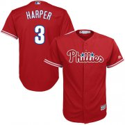 Wholesale Cheap Phillies #3 Bryce Harper Red Cool Base Stitched Youth MLB Jersey