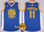 Wholesale Cheap Men's Golden State Warriors #11 Klay Thompson Blue 2017 The NBA Finals Patch Jersey