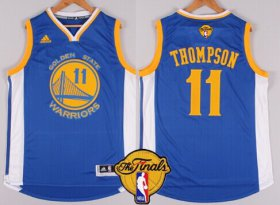 Wholesale Cheap Men\'s Golden State Warriors #11 Klay Thompson Blue 2017 The NBA Finals Patch Jersey