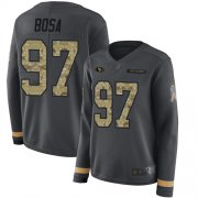 Wholesale Cheap Nike 49ers #97 Nick Bosa Anthracite Salute to Service Women's Stitched NFL Limited Therma Long Sleeve Jersey