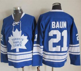 Wholesale Maple Leafs #21 Bobby Baun Blue CCM Throwback Third Stitched NHL Jersey
