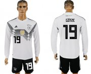 Wholesale Cheap Germany #19 Gotze White Home Long Sleeves Soccer Country Jersey