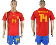 Wholesale Cheap Spain #14 Fernandez Home Soccer Country Jersey