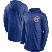 Wholesale Cheap Chicago Cubs Nike Split Logo Performance Long Sleeve Hoodie Top Royal
