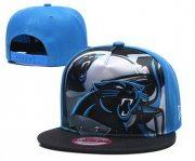 Wholesale Cheap Panthers Team Logo Blue Black Adjustable Leather Hat TX
