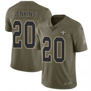 Wholesale Cheap Nike Saints #20 Janoris Jenkins Olive Youth Stitched NFL Limited 2017 Salute To Service Jersey