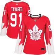 Wholesale Cheap Adidas Maple Leafs #91 John Tavares Red Team Canada Authentic Women's Stitched NHL Jersey