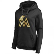 Wholesale Cheap Women's Miami Marlins Gold Collection Pullover Hoodie Black