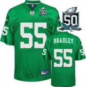 Wholesale Cheap Eagles #55 Stewart Bradley Light Green With Team 50TH Patch Stitched NFL Jersey