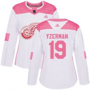 Wholesale Cheap Adidas Red Wings #19 Steve Yzerman White/Pink Authentic Fashion Women's Stitched NHL Jersey