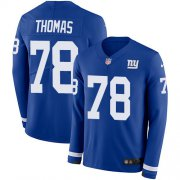 Wholesale Cheap Nike Giants #78 Andrew Thomas Royal Blue Team Color Youth Stitched NFL Limited Therma Long Sleeve Jersey