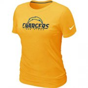 Wholesale Cheap Women's Nike Los Angeles Chargers Authentic Logo T-Shirt Yellow