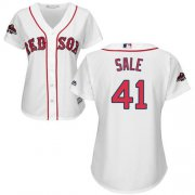 Wholesale Cheap Red Sox #41 Chris Sale White Home 2018 World Series Champions Women's Stitched MLB Jersey