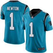 Wholesale Cheap Nike Panthers #1 Cam Newton Blue Men's Stitched NFL Limited Rush Jersey