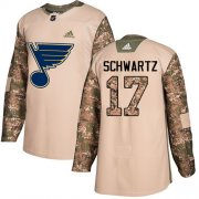 Wholesale Cheap Adidas Blues #17 Jaden Schwartz Camo Authentic 2017 Veterans Day Stitched NHL Jersey