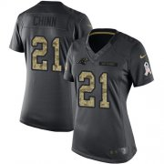 Wholesale Cheap Nike Panthers #21 Jeremy Chinn Black Women's Stitched NFL Limited 2016 Salute to Service Jersey