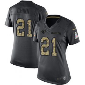 Wholesale Cheap Nike Panthers #21 Jeremy Chinn Black Women\'s Stitched NFL Limited 2016 Salute to Service Jersey