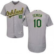 Wholesale Cheap Athletics #10 Marcus Semien Grey Flexbase Authentic Collection Stitched MLB Jersey