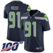 Wholesale Cheap Nike Seahawks #91 Jarran Reed Steel Blue Team Color Men's Stitched NFL 100th Season Vapor Limited Jersey
