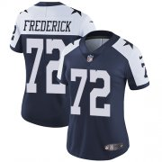 Wholesale Cheap Nike Cowboys #72 Travis Frederick Navy Blue Thanksgiving Women's Stitched NFL Vapor Untouchable Limited Throwback Jersey