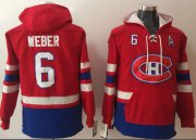 Wholesale Cheap Canadiens #6 Shea Weber Red Name & Number Pullover NHL Hoodie