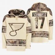 Wholesale Cheap Blues #17 Jaden Schwartz Cream Camo NHL Hoodie