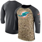 Wholesale Cheap Men's Miami Dolphins Nike Camo Anthracite Salute to Service Sideline Legend Performance Three-Quarter Sleeve T-Shirt