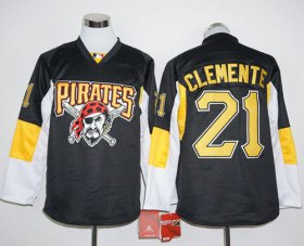 Wholesale Cheap Pirates #21 Roberto Clemente Black Long Sleeve Stitched MLB Jersey