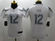 Wholesale Cheap Nike Seahawks #12 Fan White Women's Stitched NFL Limited Platinum Jersey