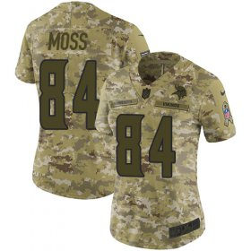Wholesale Cheap Nike Vikings #84 Randy Moss Camo Women\'s Stitched NFL Limited 2018 Salute to Service Jersey